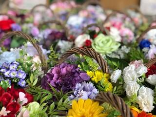造花の花かご