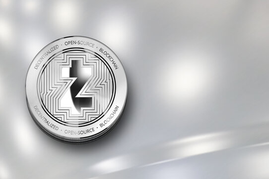 ZCash (ZEC) digital crypto currency. Silver coin. Cyber money.