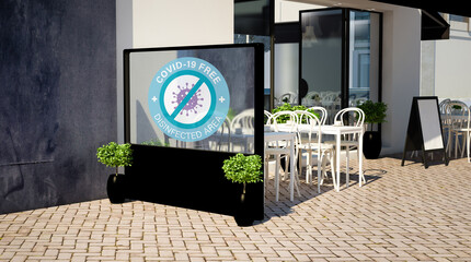 windbreaker covid free on a terrace