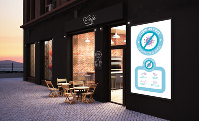 cafe storefront Covid Free