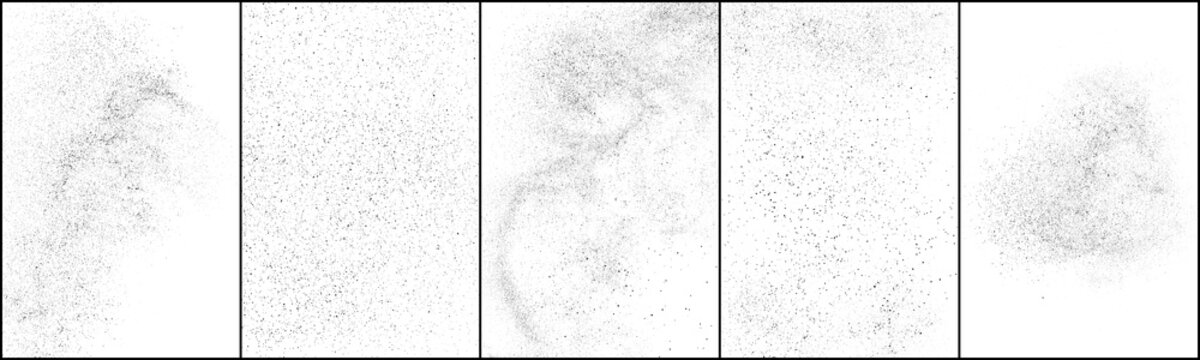 Set of distressed black texture. Dark grainy texture on white background. Dust overlay textured. Grain noise particles. Rusted white effect. Halftone vector illustration, Eps 10.