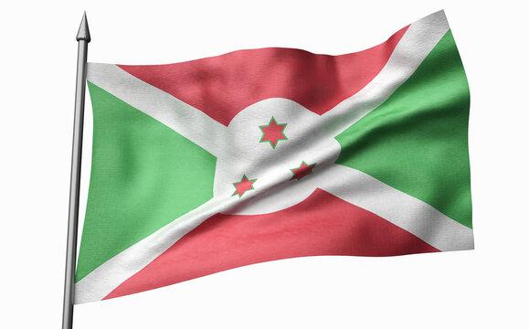 3D Illustration of Flagpole with Burundi Flag