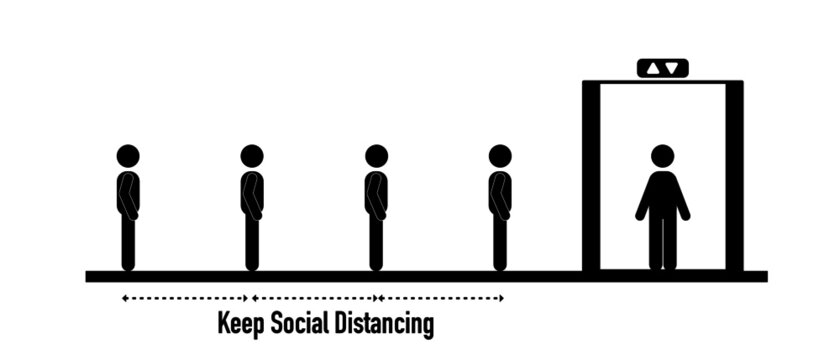 Stick figures is queueing to get in elevator (lift) , social distancing concept.