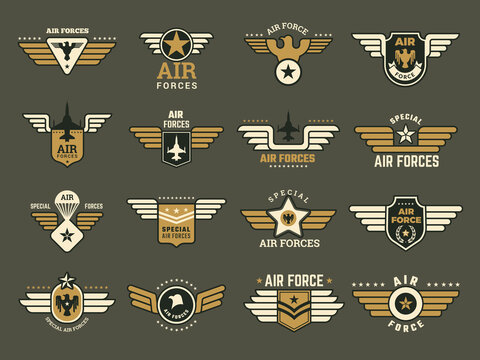 Army badges. Air special forces emblems with different symbols weapons wings anchor vector military set. Illustration military emblem, army air force insignia