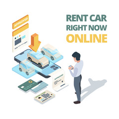 Rent car online. Digital buying automobile or car sharing service dealership online shopping vector isometric concept. Illustration online rent auto, automobile vehicle lease
