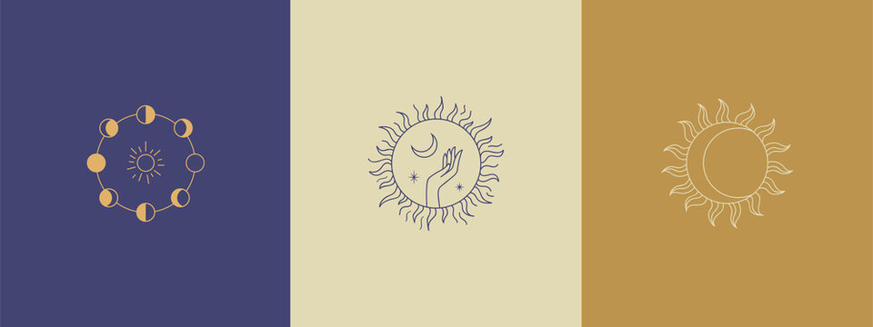 Set of logos in a linear style. Delicate, mysterious images. Three mysterious logos - a lunar eclipse, a magic sign of the sun, a hand holds the moon and stars inside the sun.