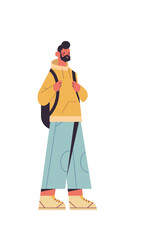 Wall Mural - cute man with backpack smiling guy in casual trendy clothes male cartoon character standing pose full length isolated vertical vector illustration