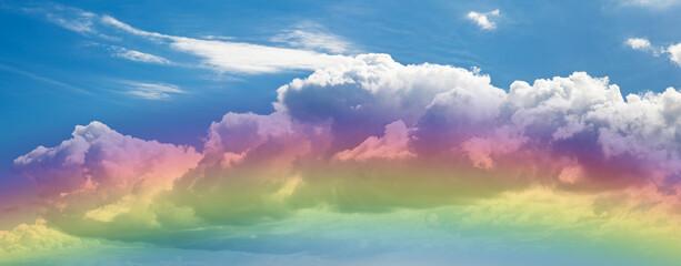 Fototapeten Blau Jeans Gros nuage et reflets arc-en-ciel