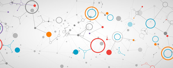 Wall Mural - Geometric abstract background with connected line and dots. Futuristic digital background for science and technology.