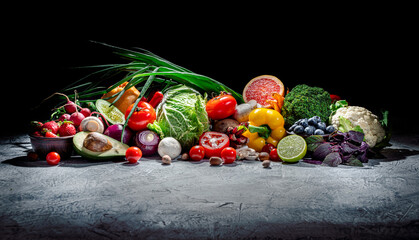 Assortment of fresh fruits and vegetables. Concept of healthy food