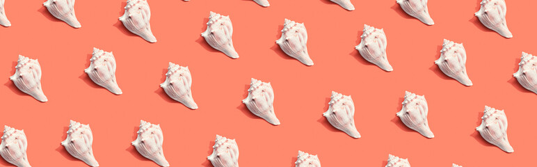 Summer concept with seashells overhead view - flat lay