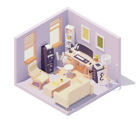 Vector isometric office workplace in home room. Office table and chair, modern wide screen computer monitor, cabinets with drawers, documents and paper, printer, desk lamp, sofa and coffee table