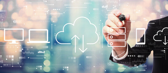 Cloud computing with businessman on blurred abstract background