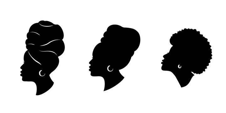 Silhoettes of african american women in a head wrap and with an earring. Beautiful black girls profile. Vector fashion illustration isolated