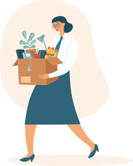 Fired sad woman carrying a box with her belongings. Crisis, dismissal, unemployment, jobless and employee job reduction concept