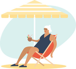 Old senior lady enjoying a coconut cocktail on the beach underparasol. Carefree retirement, travel, tropical vacation, summer tourism concept