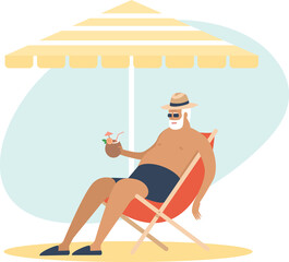 Old senior man enjoying a coconut cocktail underparasol. sleeping in a beach chair. Carefree retirement, travel, tropical vacation, summer tourism concept.