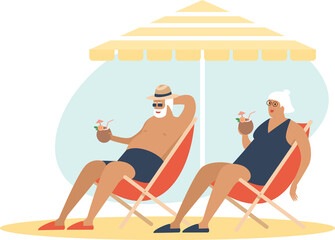 Old senior couple enjoying a coconut cocktailon the beach underparasol together. Carefree retirement, travel, tropical vacation, summer tourism concept.