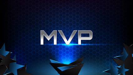 abstract background of blue futuristic technology glowing blue and black motion line and most valuable player(MVP) text