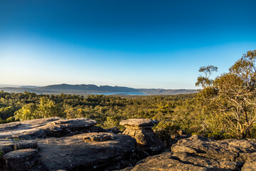 Beautiful view from the Reed Lookout in the Grampians National Park in Victoria, Australia at a sunny day in summer.