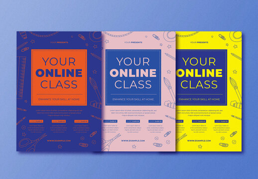 Multicolor Online Class Flyer Layout