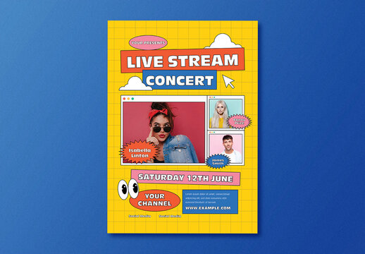 Live Stream Music Flyer Layout