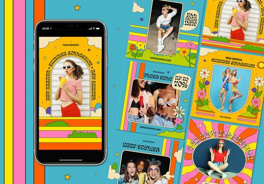 Groovy Fashion Social Media Layout