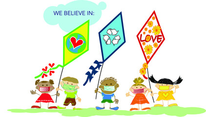 Diverse group of kids flying kites with environmental protection message, while wearing face masks during Covid-19 pandemic.