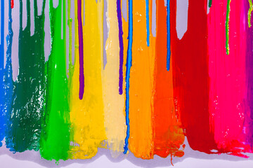 .colorful of screen printing ink are dripping on white background
