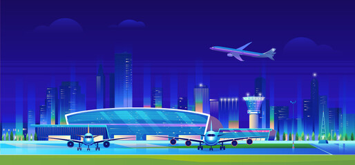 Canvas Prints Violet City airport at night vector illustration. Cartoon flat airport terminal modern building, airplanes waiting flight, aircrafts taking off and landing on runway, neon cityscape skyscrapers background.