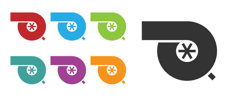 Black Automotive turbocharger icon isolated on white background. Vehicle performance turbo. Turbo compressor induction. Set icons colorful. Vector Illustration