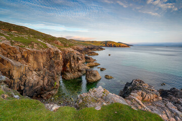 Wall Mural - Late evening on the cliffs at Hushinish