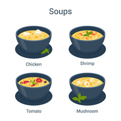 Bowl with hot tasty soup set. Collection of soup and ingredients.