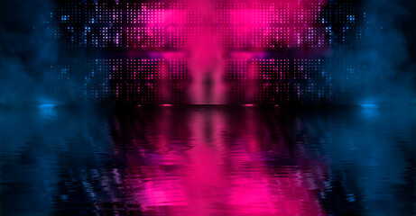 Light neon effect, energy waves on a dark abstract background. Laser colorful neon show. Reflection of light in the water. Smoke, fog. Neon lights of the night city. 3d illustration Fotomurales