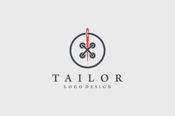 Tailor Logo. Red Needle with Black Circle Line Thread and Buttonhole Combination isolated on Vintage Background. Usable for Garment and Handmade Logos. Flat Vector Logo Design Template Element.