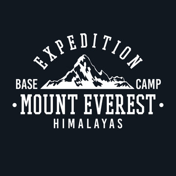 Mount Everest, Mt Everest, Himalayas Badge design. Expedition Base camp vector design. College style Apparel illustration.