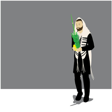 Vector illustration of a Jewish religious orthodox man. follower. Wrapped in a prayer shawl, he holds the four species of Sukkot: lulav, etrog, myrtle, willow.