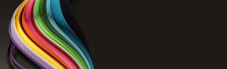 Rainbow color strip wave paper. Abstract texture black horizontal background.