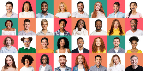 Mosaic Of Cheerful Young People Portraits On Different Colored Backgrounds