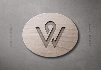 Wood Wall Sign Mockup