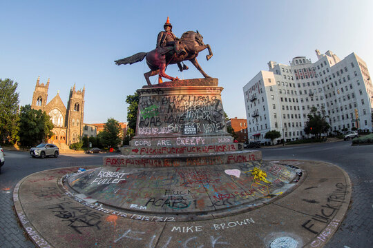 Traffic cones and a rope remain on the statue of Confederate General J.E.B. Stuart the morning after protesters against racial inequality attempted to topple it in Richmond