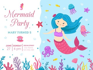 Mermaid party. Cute princess birthday invitation with ocean life. Little girl celebration card, kids baby marine festive vector illustration. Kid birthday party poster, cute cartoon marine character