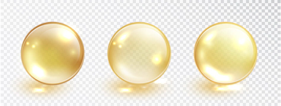 Gold oil bubble set isolated on transparent background. Vector realistic yellow serum droplet of drug or collagen essence. Vitamin translucent pill.