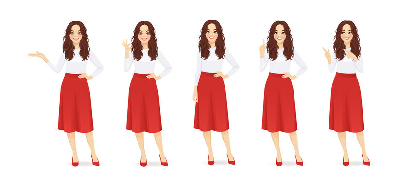 Young woman with long hair in red skirt set different gestures isolated vector illustration