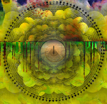 Surreal painting. Figure of man walks on a stone's road leading to another world. Indian mandala and spiral of time
