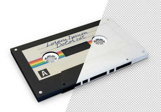 Cassette Tape Mockup on Transparent Background