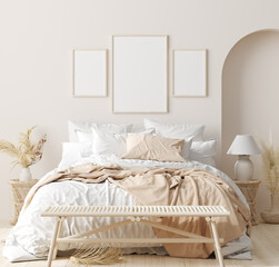 Deurstickers Wanddecoratie met eigen foto Mock up frame in bedroom interior background, beige room with natural wooden furniture, 3d render
