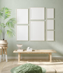 Door stickers Wall Decor With Your Own Photos Mock up frame in home interior background, pastel green room with natural wooden furniture, 3d render