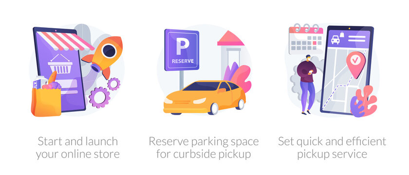 Online store pickup service abstract concept vector illustration set. Reserve parking space, curbside pickup, small business amid pandemic, grocery and essentials, employee safety abstract metaphor.