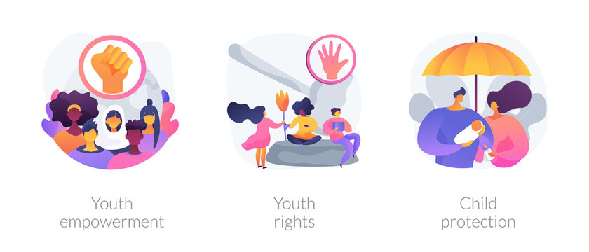 Young people rights protection abstract concept vector illustration set. Youth rights and empowerment, child protection, take action, improve life quality, involvement, voting age abstract metaphor.